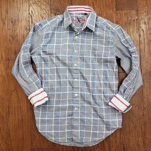 Robert Graham Button Down Dress Shirt Blue Plaid M